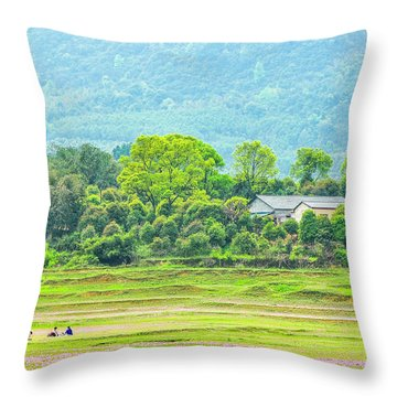 Rural Scenery In Spring Throw Pillow