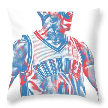 Russell Westbrook Oklahoma City Thunder Pixel Art 31 Throw Pillow