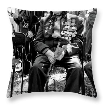 Throw Pillow featuring the photograph Russian World War II Veteran Tank Commander by John Williams