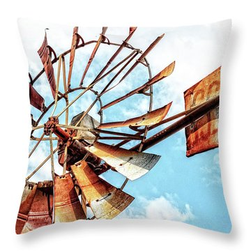 Rusted Windmill Throw Pillow