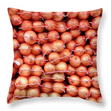 Throw Pillow featuring the photograph Sacks Of Onions by Yali Shi