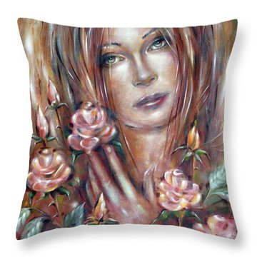 Throw Pillow featuring the painting Sad Venus In A Rose Garden 060609 by Selena Boron