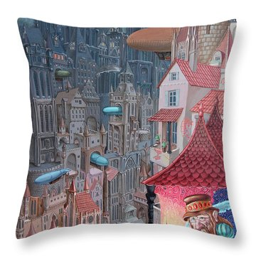 Saga Of The City Of Zeppelins Throw Pillow