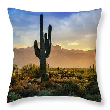 Throw Pillow featuring the photograph Saguaro Sunrise In The Superstitions  by Saija Lehtonen