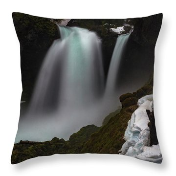 Throw Pillow featuring the photograph Sahalie Falls by Cat Connor