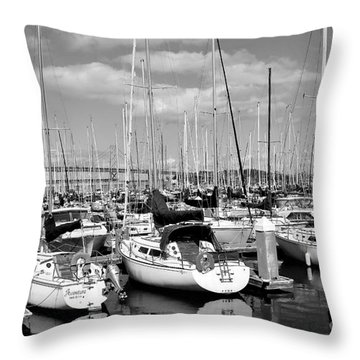 Sail Boats At San Francisco China Basin Pier 42 With The Bay Bridge In The Background . 7d7666 Throw Pillow