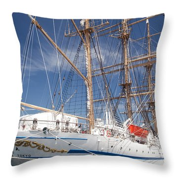 Sail Training Ship Nippon Maru Throw Pillow by Aiolos Greek Collections