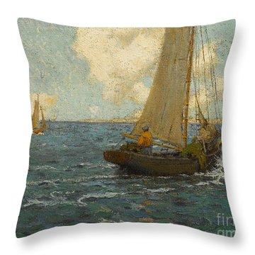 Sailboats On Calm Seas Throw Pillow
