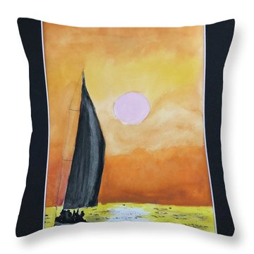 Throw Pillow featuring the painting Sailing by Donald Paczynski