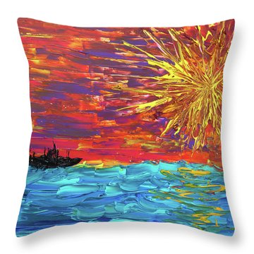 Sailing From The Sun Throw Pillow by Erik Tanghe