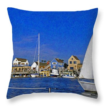 Throw Pillow featuring the photograph Sailing Marina Del Rey Fisherman's Village by David Zanzinger