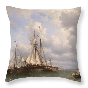 Sailing Ships In The Harbor Throw Pillow by Anthonie Waldorp