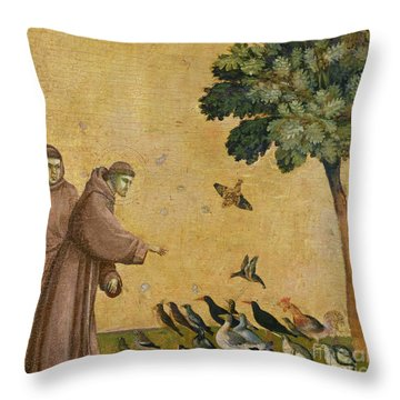 Saint Francis Of Assisi Preaching To The Birds Throw Pillow