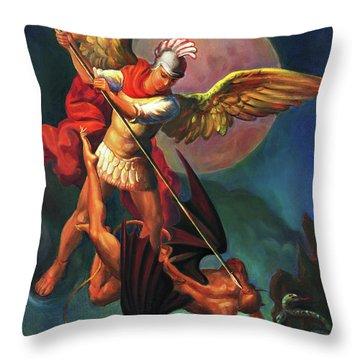 Saint Michael The Warrior Archangel Throw Pillow