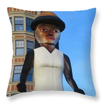 Salish Woman Throw Pillow by Martin Cline