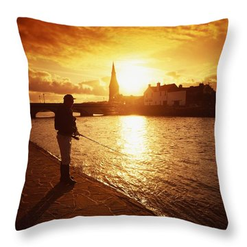 Salmon Fishing, Ridgepool, Ballina, Co Throw Pillow by The Irish Image Collection