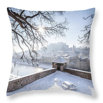 Salzburg Winter Dreams Throw Pillow by JR Photography