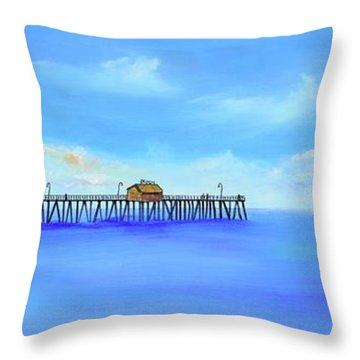 Throw Pillow featuring the painting San Clemente Pier by Mary Scott