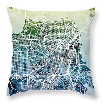 San Francisco City Street Map Throw Pillow