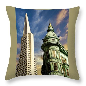 San Francisco Then And Now Throw Pillow