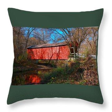 Sandy /creek Covered Bridge, Missouri Throw Pillow
