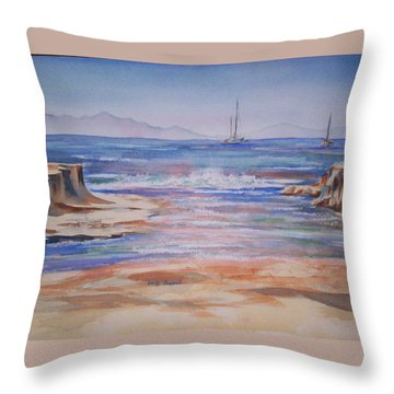 Santa Cruz Throw Pillow by Becky Chappell