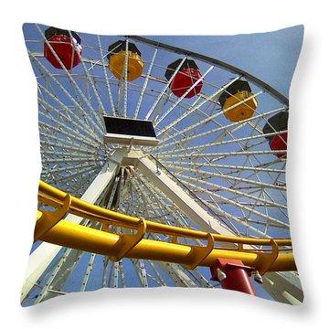 Santa Monica Pier Amusement Park Throw Pillow