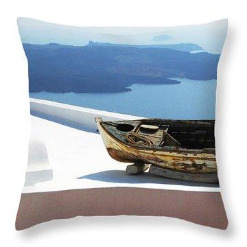 Santorini Greece Throw Pillow by Bob Christopher
