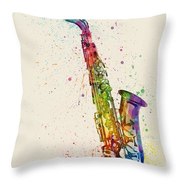 Saxophone Abstract Watercolor Throw Pillow