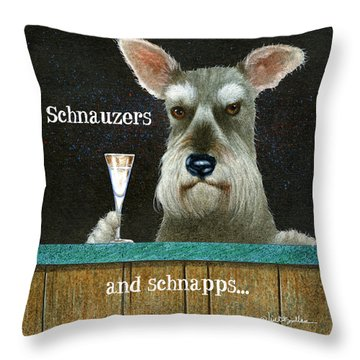 Throw Pillow featuring the painting Schnauzers And Schnapps... by Will Bullas