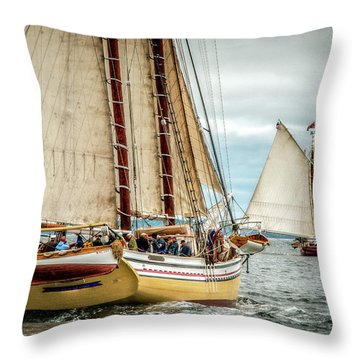 Schooner Race Throw Pillow by Fred LeBlanc