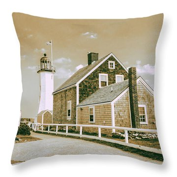 Scituate Lighthouse In Scituate, Ma Throw Pillow