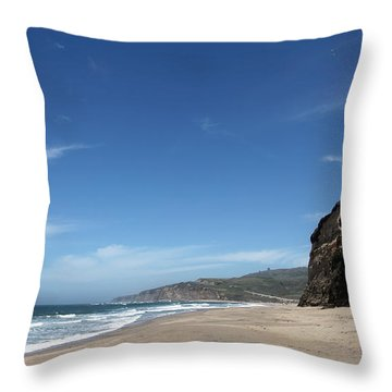 Scott Creek Beach California Usa Throw Pillow by Amanda Barcon