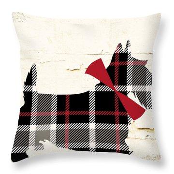 Scottish Terrier Tartan Plaid Throw Pillow