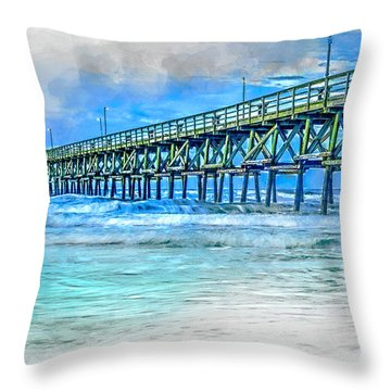 Sea Blue - Cherry Grove Pier Throw Pillow