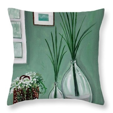 Throw Pillow featuring the painting Sea Grass by Elizabeth Robinette Tyndall