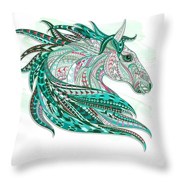Sea Green Ethnic Horse Throw Pillow