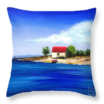 Sea Hill Boatshed - Original Sold Throw Pillow