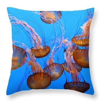 Sea Nettles Ballet 1 Throw Pillow by Diane Wood