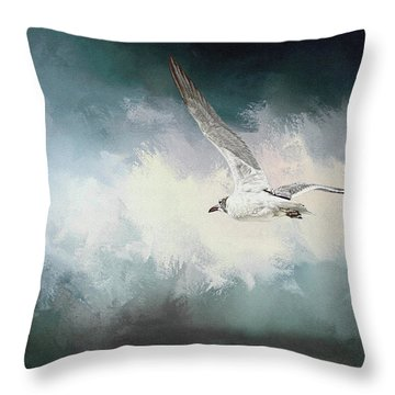 Seagull In Flight Throw Pillow by Sennie Pierson