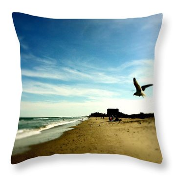 Seagulls At The Beach. Throw Pillow by Carlos Avila