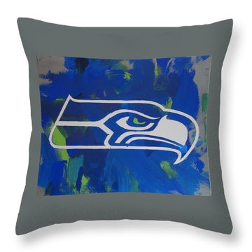Throw Pillow featuring the painting Seahawks Fan by Candace Shrope