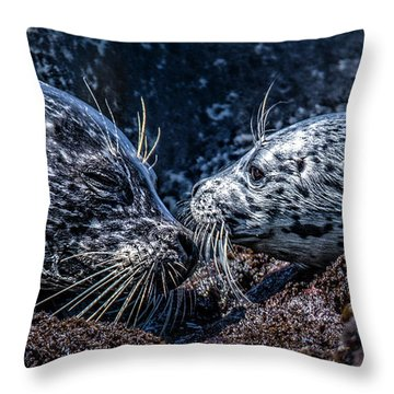 Seal Pup With Mom Throw Pillow