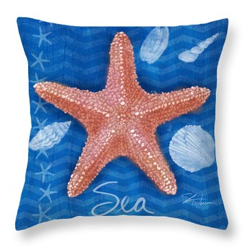 Seashells On Blue-sea Throw Pillow
