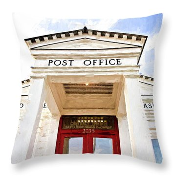 Seaside Post Office Throw Pillow by Scott Pellegrin