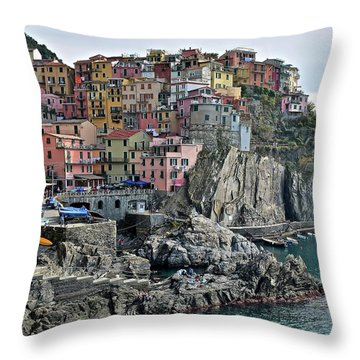 Throw Pillow featuring the photograph Seaside Village by Frozen in Time Fine Art Photography