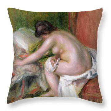 Seated Bather Throw Pillow by Pierre Auguste Renoir