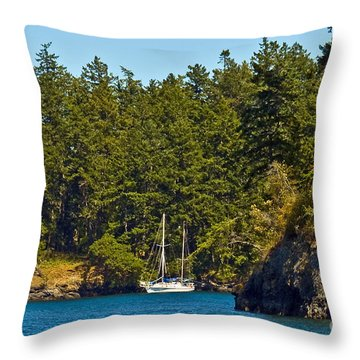 Secluded Anchorage Throw Pillow
