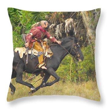 Seminole Indian Warrior Throw Pillow