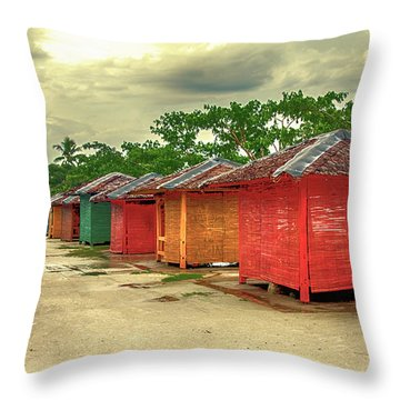 Throw Pillow featuring the photograph Shacks by Charuhas Images